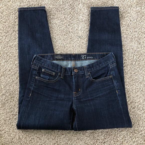 J. Crew Toothpick Ankle Skinny Dark Wash Jeans
